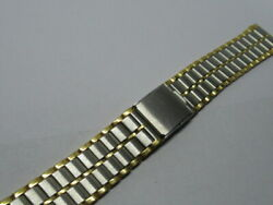 Vintage Stainless Steel Silver And Gold Colour Watch Strap -bracelet-band 17mm Nos