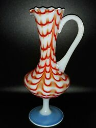 Nailsea Glass Mini Pitcher/vase Beautiful Hook And Loop Pattern W/applied Handle