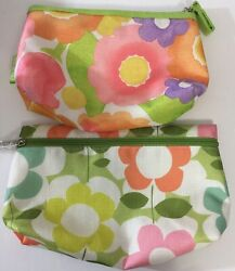 2 Clinique Floral Cosmetic Cases 9.5 X 2.5 X 5.5 8.5 X 2.5 X 5 NEW $6.25
