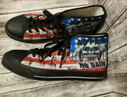 Men#x27;s High top Black Shoe size 13 Muscle Skull Flag Used