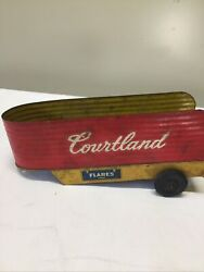 Vintage Courtland Tin Litho Trailer Hauler Toy Trucks And Trailers