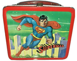 Vintage 1978 Superman Metal Lunch Box And Thermos Set By Aladdin Very Nice