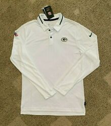 Nike Dry Mens Long Sleeve Polo Shirt White Size Small Nfl Green Bay Packers