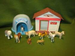 Mixed Lot of Mini Dogs amp; Cat with 2 Dog Houses 1 2quot;
