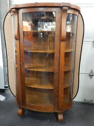 Large Antique Tiger Oak American Empire Bowfront Curio Display China Cabinet