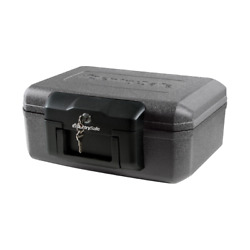 Fire-resistant Box Safe With Key Lock Fireproof Valuables Security Black