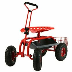 Sunnydaze Garden Cart Rolling Scooter With Extendable Steer Handle Swivel Seat
