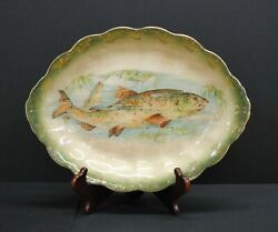 Minton 19th Century Hand Painted Bowl/dish Bass Fish Hand Signed