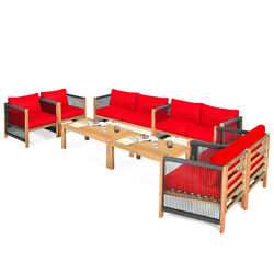 Topbuy Outdoor Patio Furniture Set Padded Chair W/ Coffee Table Red/turquoise