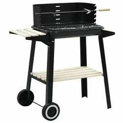 Home Charcoal Bbq Stand With Wheels Black Steel Wood Grill Smoker Stand Eating