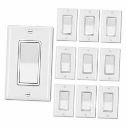[10 Pack] Single Pole Decorator Wall Light Switch With Wallplate, 15a 1.white