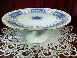 Coalport Revelry Blue Cake Stand Footed Pedestal Cake Plate