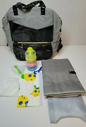 Water Proof Backpack Diaper Bag Unisex Gray amp; Black Extra Large New No Tags $26.00
