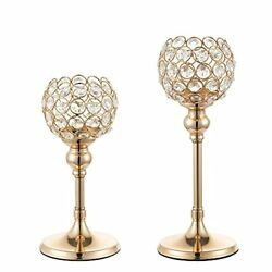 Gold Candlestick Holders Crystal Candle Stand Set of 2 Candle Stick Holders S...