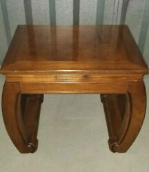 Vintage Mid-century Ming Style Walnut Low Side Coffee Tables 70s Rock Solid Wood