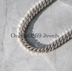 Men's 19mm X 24 Long Miami Prong Cuban Necklace Chain 14k White Gold Plated