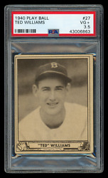 1940 Ted Williams Play Ball 27 Psa 3.5 Crease Free Second Year Hof