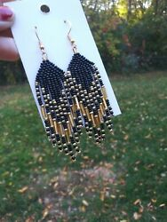 Native American Style 3.5 Long Beaded Earrings In Black And Gold With Goldandnbsps925