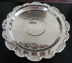 """Lancaster Rose Epca Poole Silver Plate Cake Plate Stand 15"""" 1940's"""