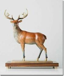 18'' Bronze Brass Copper Freehand Colored Drawing Beast Animal Sika Deer Statue