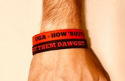 Georgia Bulldogs Wristbands NCAA quot; UGA HOW #x27;BOUT THEM DAWGS quot; Set Of 2