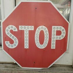 Vintage Red 30 X 30 Stop Sign With Reflectors -l@@k- Htf