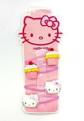 Hello Kitty Hair Clips 4 Pieces Girls Hair Accessories Kitty Face Cupcake