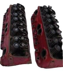 Gm 340292 Chevy Sbc Turbo Angle Plug 2.02 Cylinder Heads Pair Original Excellent