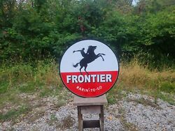 Big 30 Double Sided Frontier Sign Rarinand039 To Go Gas Oil Horse Pump Station
