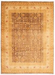 Vintage Geometric Hand-knotted Carpet 10and0391 X 13and0396 Traditional Wool Area Rug