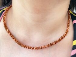 70 Ct Genuine Hessonite Beads Necklace 2 Mm Natural Beads Necklace 18 Inch