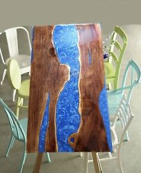 Solid Wood Ocean Epoxy Resin Kitchen And Dining Tables Customization Handmade Deco