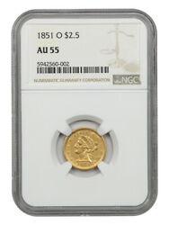 1851-o 2 1/2 Ngc Au55 - Popular New Orleans Gold Issue - 2.50 Liberty Gold Coin