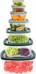 Teal Storage 14 Piece Food Containers Set Clear Blue Lids Glass Bowls Portable