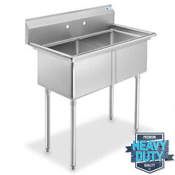 Open Box - 2 Compartment Stainless Steel Commercial Kitchen Prep And Utility Sink