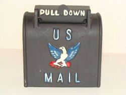 Black Cast Iron Us Mail Box Coin Bank Embossed And Painted Vintage