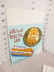 Nabisco 1940s Grocery Store Display Sign Fig Newton Jam Filled Cookies Dessert