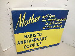 Nabisco 1948 Grocery Store Display Shelf Sign 50th Anniversary Cookies Mother