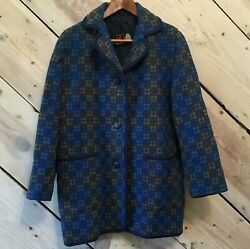 Welsh Woollens Womens Size XL Wool Tapestry Coat Wales Eclipse See Measurements