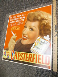 Chesterfield Cigarette 1948 Movie Poster Store Display Sign Claudette Colbert