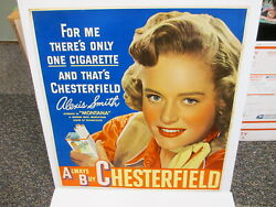 Chesterfield Cigarette 1949 Movie Poster Store Display Sign Alexis Smith Pinup
