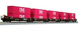 Kato 106-6195 N Bnsf Maxi-i Double Stack Car W/one Container 238693 Set Of 5