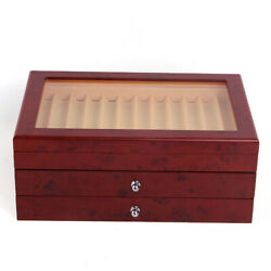 34 Pens 3-layer Wooden Box Pen Display Box Fountain Wood Storage Collection Box