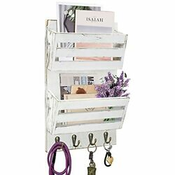 Unistyle Rustic Mail Organizer Wall Mount With 4 Key Hooks,mail Holder Mounted