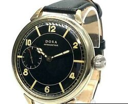 1940s Doxa Military Wwii Manual Aircraft Deformed Dial Menand039s Watch
