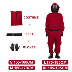 Squid Game Costume Jumpsuit With Belt+gloves Squid Game Cosplay Role Play New Us