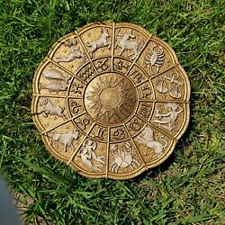1966 Vintage Large Gold Zodiac Wall Hanging - Universal Statuary Chicago
