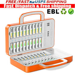 40 Slots Multi Aa Aaa Battery Charger For Aa Aaa Rechargeable Batteries + 4 Usb