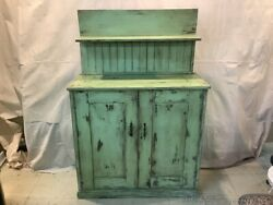 Antique Green Farm Cabinet Document Holder Solid Wood Front Doors Distressed
