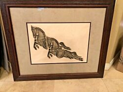 Vintage Thai Temple Rubbing Of Two Horses On Rice Paper 33andrdquox 27.5andrdquopro-framed